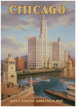 Huge Vintage Chicago Grey Goose Airline Airplane Travel Art Poster Print Kerne Erickson