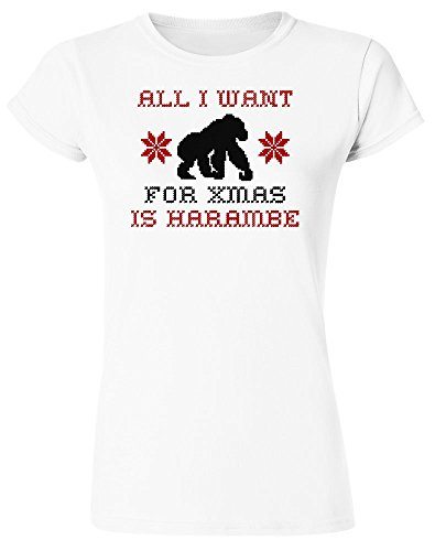 All I Want For Xmas Is Harambe Design Women's T-Shirt XX-Large