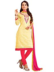Yellow Embroidered Chanderi Salwar Suit
