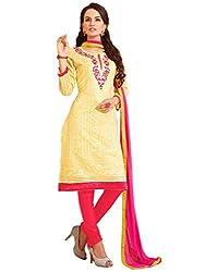 Light Yellow colour embroidered chanderi fabric semi stich churidar dress material