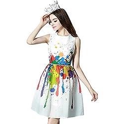 Azbro Mini Vestido Estampado Colorido Sin Manga