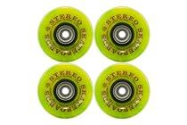 Stereo Skateboards Vinyl Cruiser Wheel-Pack of 4 (Green Swirl)