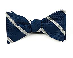 100% Woven Silk Navy and Silver Trad Striped Self-Tie Bow Tie
