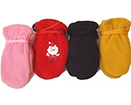 Set of Four Fleece Microfiber Lined One Size Mittens for Ages 3-12 Months