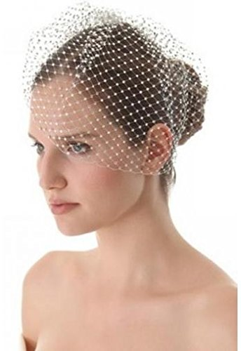 Short wedding veil dots veil for wedding and formal ceremony (White)