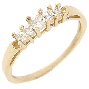 10k Yellow Gold White CZ Five Square Stone Ladies Wedding Anniversary Ring