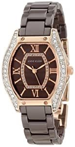 Anne Klein Women's 10/9866RGBN Ceramic Swarovski Crystal Accented Rose Gold-Tone Brown Ceramic Watch