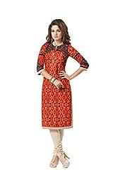PADMiNi Ethnicwear Women's Kurti Fabric Orange Free Size