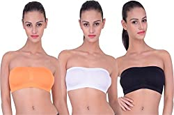 PIFTIF seamless non padded non wire strapless bandeau full side covrage tube bra for women's and girl s fit size ( 28 in to 36 in) WHITE ORANGE BLACK