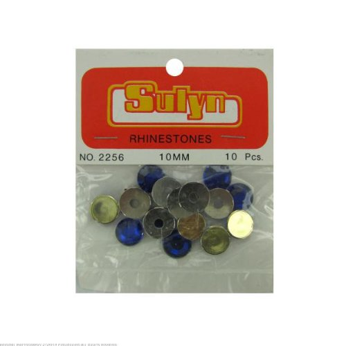 24 Sapphire colored rhinestones with mounts; pack of 10