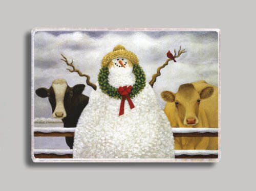 Cows and Snowman Refrigerator Magnet