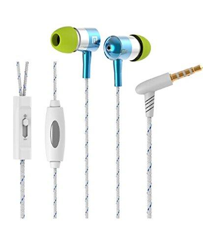 Langston ® Mediacom SmartPad 10.1 HD iPro111 / Mediacom SmartPad i10 3G Tablet Blau Geflochtene Metall In-Ear-Stereo High Definition Kopfhörer mit Mikrofon und Lautstärkeregler eingebaut
