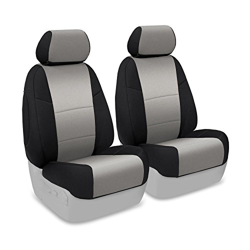 Coverking Custom Fit Front 50/50 Base Seat Cover For Select Mini Cooper Models - Neosupreme 2-Tone (Charcoal With Black Sides)