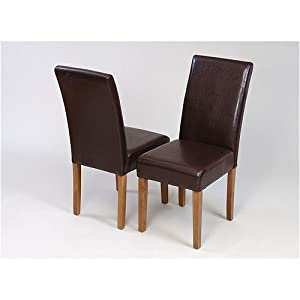 2 X Brown Faux Leather Dining Chairs Medium Oak Legs Kitchen
