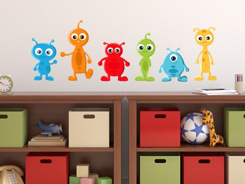 Alien Fabric Wall Decals, Set Of 6 Aliens, 3 Different Sizes