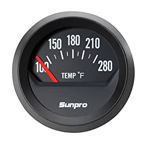 Sunpro CP8211 StyleLine Electrical Water/Oil Temperature Gauge  - Black Dial