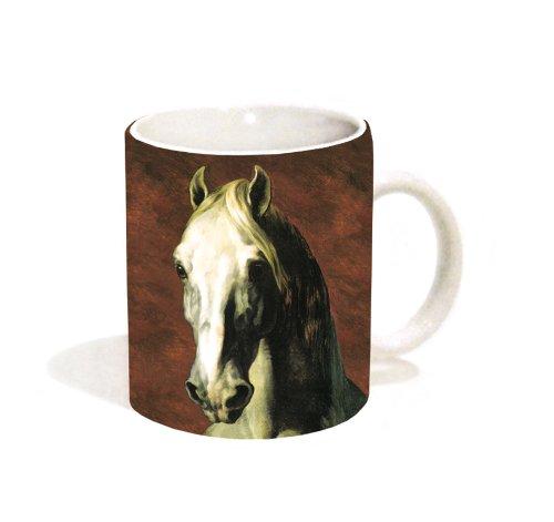 Theodore Gericault Head Of A White Horse Stallion Animal Fine Art Ceramic Gift Coffee (Tea, Cocoa) 11 Oz. Mug