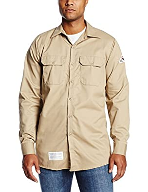 Bulwark Flame Resistant 7 oz Cotton Excel FR Long Work Shirt with Sleeve Vent, One-Piece Lined Cuff, Khaki, 2X-Large