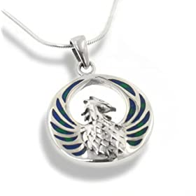 blue green azurite inlay winged fire phoenix sterling silver medallion pendant