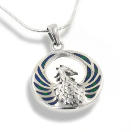 Blue Green Azurite Inlay Winged Fire Phoenix Sterling Silver Medallion Pendant with 18