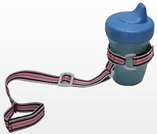 BooginHead Pink-Brown Stripe SippiGrip Baby and Toddler Grip Strap Sippi Grip - 1