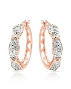 Genuine Morne Rouge (TM) Earrings. 0.25 Ctw Accent Diamonds Hoop Earrings. 13.2 Grams in Weight and 34 mm in Length. 100% Satisfaction Guaranteed.