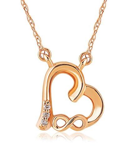 Divas Diamond Conjunto de cadena y colgante Diamond Gold Heart Infinity