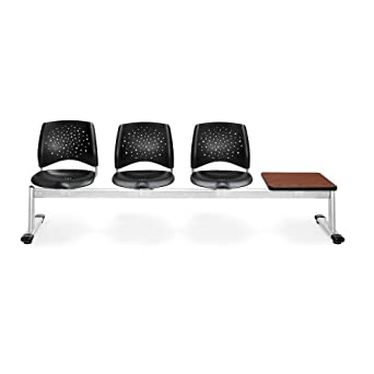 OFM 324T-P-BLK-CH Stars 4-Unit Beam Seating with 3 Plastic Seats and 1 Table