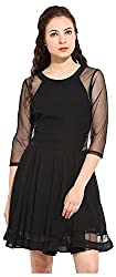 IRAM SHOPPING STORE Women's Regular Fit Dress (IR-DR00IRSS106, Black, Medium)