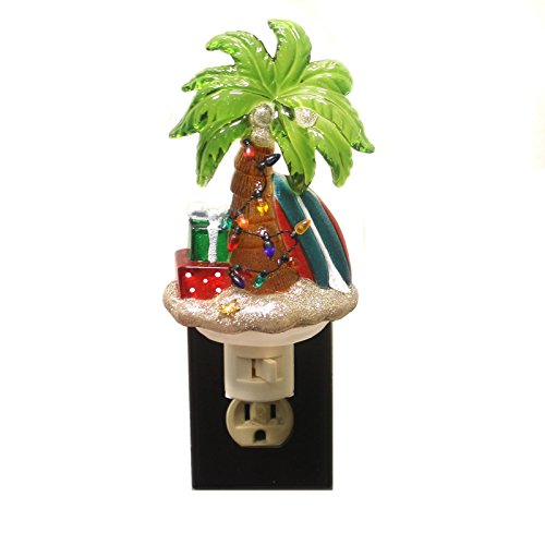 Christmas Night Light - Surfboard & Palm Tree Decorated with Lights & Presents