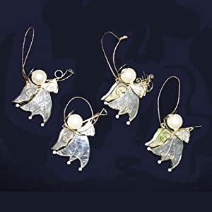 CAPIZ MINI ANGEL W/INSTRUMENTS ORNAMENT SET OF 4
