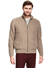North Coast Cable Knit Cardigan with Wool