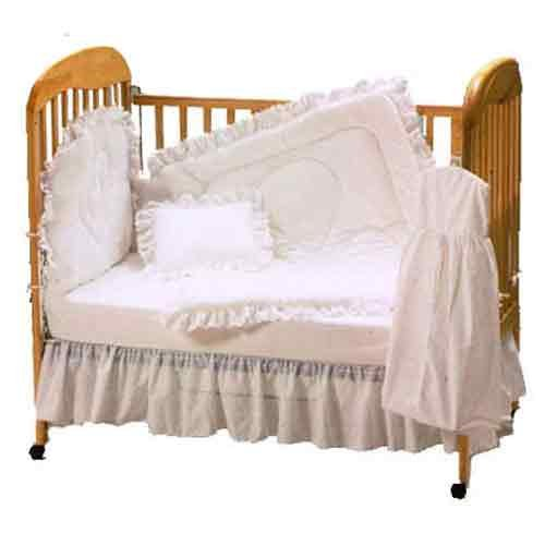 Baby Doll Bedding Carnation Eyelet Crib Bedding Set, White