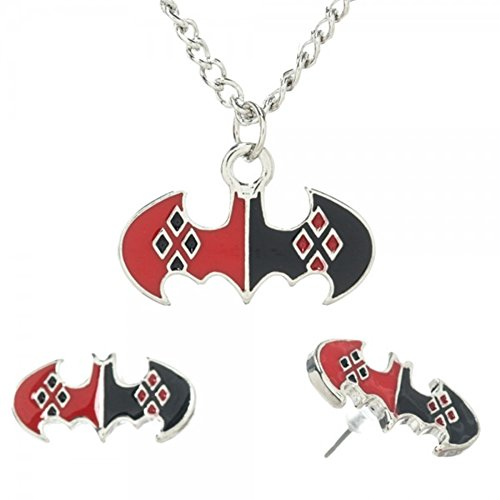 DC Comics HARLEY QUINN Pattern on Batman Logo PENDANT & EARRING SET