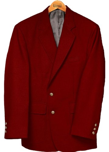 Ed Garments Men's Classic Two Button Single Breasted Blazer, RED, 44 R