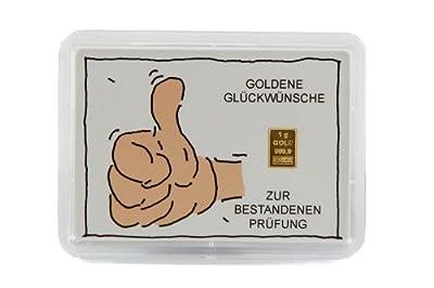 """Glückwunschkarte Motivbox """"Prüfung"""" mit eingebettetem 1g Goldbarren"""