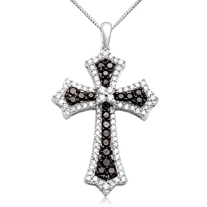 Jewelili 1 cttw Black & White Diamond 10KT White Gold Cross Pendant