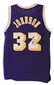 Magic Johnson Los Angeles Lakers Autographed Hand Signed Purple Throwback Jersey by Hall of Fame Memorabilia