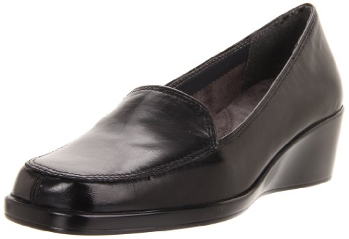 Aerosoles Women's Final Exam Wedge,Black Leather,8.5