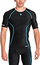 Skins A200 Top de compression manches courtes Homme Black Neon Blue FR : S (Taille Fabricant : S)