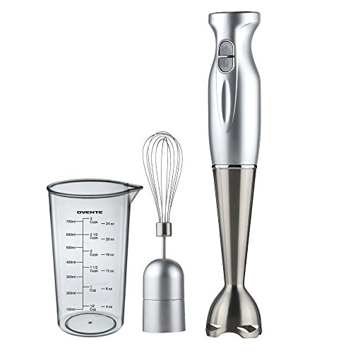 Ovente HS583S Robust Stainless Steel Immersion Hand Blender with Beaker and Whisk Attachment, Silver