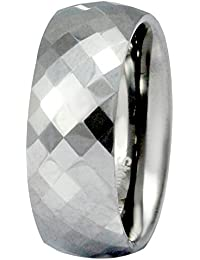 Sparkling Drop Exclusive Designer Steel Finish Tungsten Textured Band Ring SDC095R117