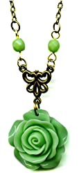 Brass and Light Green Resin Flower Rose Antiqued Bronze Pendant Necklace 18 Inches Vintage Style
