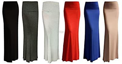 Red Hanger Women's Stylish Solid Long Maxi Skirt - Made In USA