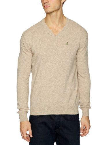 malboro classics Sturdy Town Knitwear V-Neck Men's Jumper Beige X Large