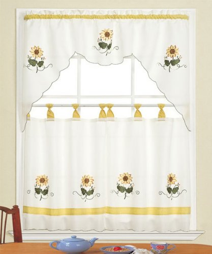 3 Piece Beige With Yellow Sunflower Kitchen/cafe Curtain Tier And Swag Set