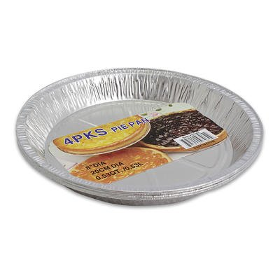 "1 pack of PIE PAN, 4pk 8"" DIA FOIL SILVER"