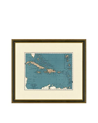 Antique Map of the West Indies, 1937