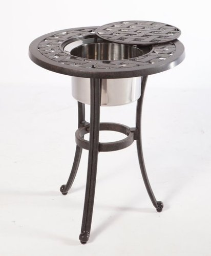Alfresco Home Cast Aluminum 21-Inch Round Weave Beverage Side Table With Stainless Steel Bowl, Antique Fern