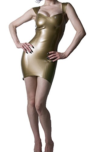 Howriis Women'S Bronze Back Ziper Mini Latex Dress With Arrow Straps And Adjustable Straps (Xx-Small, Bronze) front-1063277